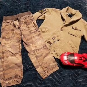 Boys Ralph Lauren coat, Carters pants.